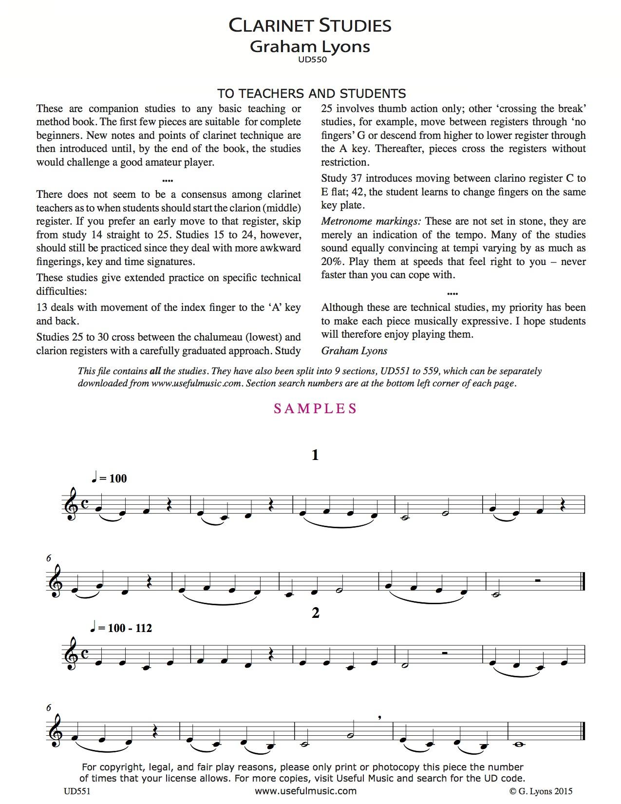 Clarinet Studies 1 to 8